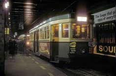 Trams at Wynyard Station.Until 1958 the trams used to go underground to Platforms 1 and 2.Photo by N. Reed.