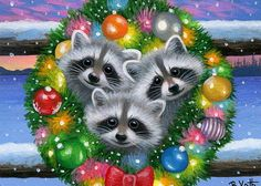 Raccoons Christmas wreath fence winter snow holiday original aceo painting art #Miniature