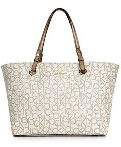 Calvin Klein Key Item CK Monogram Tote Handbags   Accessories - Macy s 51bb6780f65