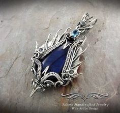 """""""Draco Tonitrui -- Once Upon a Time"""" Labradorite Pendant Necklace Wire Wrap .999 Fine Silver w/ Faceted Swiss Topaz & Handmade Chain. Original design & creation by Daryl Adams."""