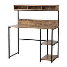 Ideas reclaimed wood desk top shelves for 2019 Iron Furniture, Steel Furniture, Furniture Design, Furniture Stores, Furniture Dolly, Diy Wood Desk, Diy Desk, Desk Hutch, Desk Shelves