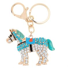 New Arrival! Aureate Horse Pendant Key Ring Key Chain Hollow Shinning Rhinestone Keychain Fashional Jewelry for Women