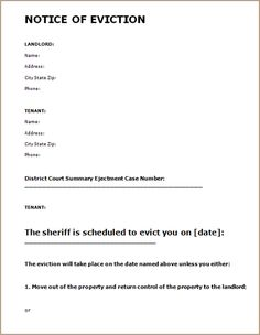 Printable Sample Eviction Notice Form  Letter Of Eviction Notice