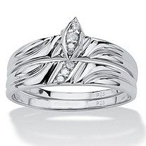 2 Piece Round Diamond Accent Bridal Ring Set in Platinum over Sterling Silver
