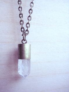 Your place to buy and sell all things handmade Quartz Crystal Necklace, Amethyst Crystal, Bubble Envelopes, Brass Chain, Antique Brass, Jewelry Box, Necklaces, Crystals, Pendant