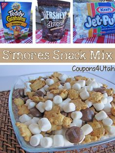 S'mores Snack Mix, the perfect way to enjoy all the flavors of s'mores without the hassle and mess of a campfire! National S'mores Day – Source by Cheer Snacks, Sports Snacks, Camping Snacks, Camping Theme, Camping Ideas, Snack Mix Recipes, Preschool Snacks, Chex Mix, Kid Friendly Meals