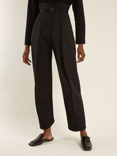 Click here to buy Lemaire High-rise tapered-leg wool-twill trousers at MATCHESFASHION.COM