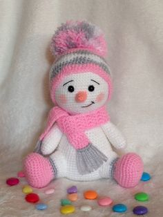 Baby Knitting Patterns Christmas Snowman worked in pink, gray and white. Baby Knitting Patterns, Crochet Animal Patterns, Crochet Animals, Crochet Animal Amigurumi, Crochet Snowman, Christmas Crochet Patterns, Holiday Crochet, Crochet Dolls, Crochet Crafts