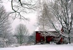 Red Barn in Snow, Winter Scenery,  Landscape, Christmas Decor, Nature Photography,  Fine Art Print,  11X14 Mat,  Landscape,  Winter Scene