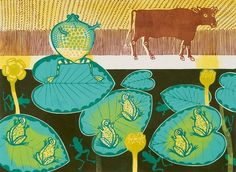 Edward Bawden - Colour linocut, 1970. In the 1970's Bawden made a series of prints based on Aesop's fables. The frog, with feet firmly balanced on the water-lily, puffs himself up to twice his normal size. He points towards a passing Ox and, boasting to his companions, suggests that he, too, can be the size of this Ox. …