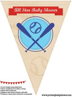 the printable baseball baby shower banners. Get it all here for free: http://printmybabyshower.com/baseball-baby-shower-decorations-games-invitations/