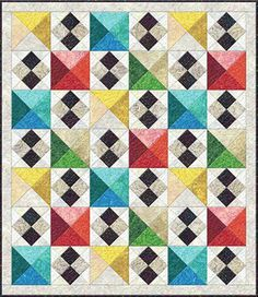 Staccato Quilt designed By Kaye England for Bear Creek Quilting Company featuring Wilmington Batiks Quilt Block Patterns, Quilt Blocks, Quilting Projects, Quilting Designs, Patch Quilt, Scrappy Quilts, Barn Quilts, Small Quilts, Quilt Tutorials