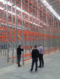 The SSS team assessing the newly installed racking