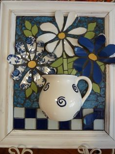 Blue and White Daisies Mosaic by Julie Aldridge Mosaic Garden Art, Mosaic Tile Art, Mosaic Flower Pots, Mosaic Pots, Mosaic Artwork, Mosaic Diy, Mosaic Crafts, Mosaic Projects, Mosaic Glass