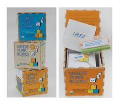 Colores y forma del empaque es muy didactica, los niños se pueden divertir e interactuar jugando con este empaque. -Package Design: CheeseYumm Blocks on Behance
