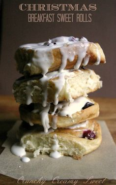 Cranberry Coconut Sweet Rolls with Spiked Egnogg Cream Cheese Glaze by CrunchyCreamySweet.com @Anna   Crunchy Creamy Sweet