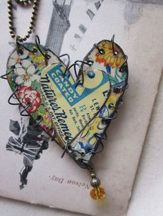 "Tin Jewelry Layered Stitched Heart Pendant Garden and Graphics ""Candy Coated""… Recycled Jewelry, Metal Jewelry, Beaded Jewelry, Handmade Jewelry, Gold Jewelry, Bullet Jewelry, Jewelry Crafts, Jewelry Art, Jewelry Design"