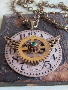 Time Traveler VIX- Steampunk Necklace- Repurposed art. $39.95, via Etsy.