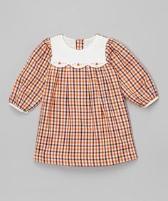 Look at this #zulilyfind! Orange & Purple Plaid Peasant Dress - Infant by La Fleur & Le Papillon #zulilyfinds