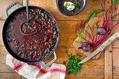 Mushroom and beet borscht
