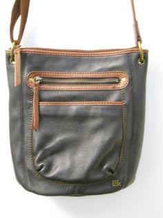 The Sak Crossbody Brown Leather Shoulder Bag Zipper Pockets Outside Inside Cloth #TheSak #ShoulderBag