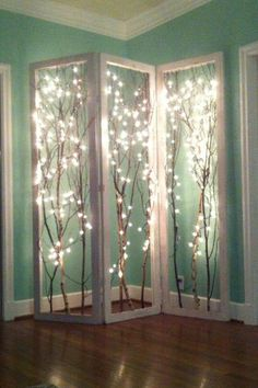 Framed decor branches with white lights