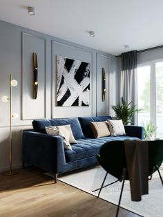 VK is the largest European social network with more than 100 million active users. Blue Living Room Decor, Living Room Sofa Design, Home Room Design, Home Living Room, Living Room Designs, Interior Design Living Room, Classic Living Room, Room Interior, Wall Photos