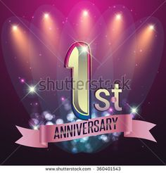 1st Anniversary, Party poster,  party invitation - background glowing element. Vector Illustration - stock vector