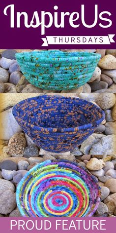 Inspire Us Thursday: Sew Needle Stitch Hook |  October 30 Feature -- Gorgeous Fabric Bowls by Daryl of Patchouli Moon Studio #fabricbowl #linkparty