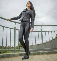 Sexy black leather leggings leather moto jacket and ankle boots outfit