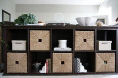 Image result for baskets for ikea hemnes console table