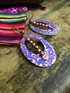 Excited to share my latest Omanie creation at my #etsy shop: Artisan boho earrings - bohemian earrings - copper embossed earrings - gypsy earrings- ethnic earrings #earrings #jewelry #copper #purple #avantgarde #patinaearrings #patinajewelry #copperjewelry #bouclesdoreilles