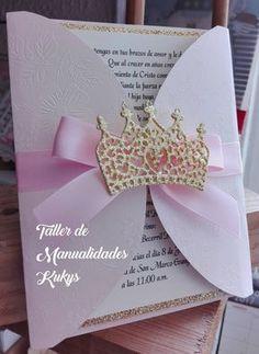 invitaciones de bautizo Deer Wedding, Glitter Wedding, Wedding Cards, Quinceanera Decorations, Quinceanera Party, Invitation Card Design, Invitation Cards, Invites, Kids Pamper Party