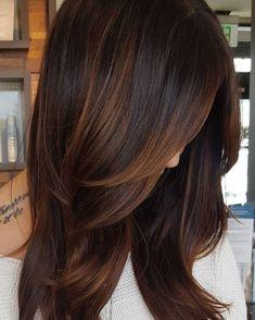 Copper Highlights For Dark Hair hair ideas 60 Hairstyles Featuring Dark Brown Hair with Highlights Dark Hair With Highlights, Partial Highlights, Brunette Highlights, Bayalage Brunette, Blonde Hair, Chocolate Hair With Caramel Highlights, Peekaboo Highlights, Dark Brunette, Caramel Hair