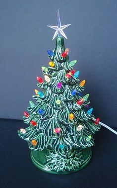 Ceramic Christmas tree lighted with small plastic bulbs - 8 inch size | TeresasCeramics - Earth Friendly on ArtFire