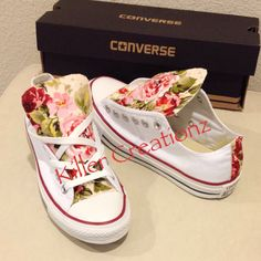 Custom+Converse+low+tops+with+floral+print+ANY+by+KillerCreationz,+$80.00