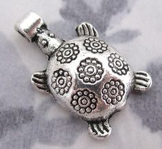 casted pewter turtle bead charm 16x12mm - f2850