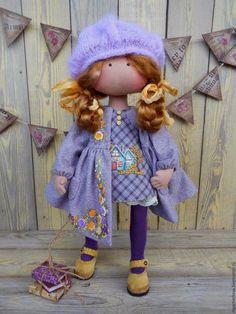 Купить Малышка в пальтишке (рыжуля) - сиреневый, кукла в пальто, кукла в шапке, кукла для девочки