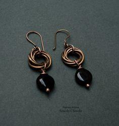 Free wire tutorial: swirl knot with bead dangle - Fradany : Tutorial: Pendientes con argollas entrelazadas