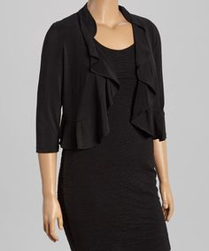 Another great find on #zulily! Black & Gold Lace-Back Shrug - Plus by JM Studio #zulilyfinds