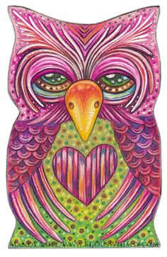 Obert  Art PRINT 8 x 10 Fun Loving Colourful Owl by BijousWhimsy, $20.00