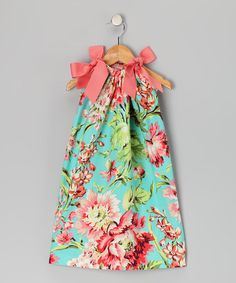 Take a look at this Turquoise Floral Shift Dress - Toddler & Girls by Peppermint Pony on #zulily today!