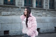 Delila Nevala Fashion blog, faux fur coat trend, how to style over the knee boots, Steve Madden Over The Knee Boots, Steve Madden, Faux Fur, Fur Coat, Blush, Jackets, Food, Style, Fashion