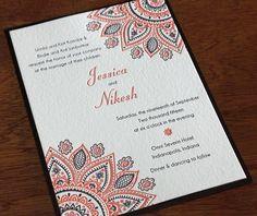 Mandalas and Mehndi: The New 2015 Letterpress Design- Wamil   Invitations by Ajalon   http://invitationsbyajalon.com/