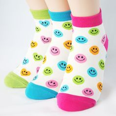 FLUORESCENCE SMILE SOCKS 3PAIRS=1PACK Made in KOREA women woman girl big kids #COLORMIX #allStyle