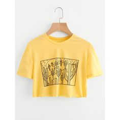 Cactus Print Crop Tee (€8,37) ❤ liked on Polyvore featuring tops, t-shirts, yellow, short sleeve tops, crew neck t shirt, summer crop tops, short sleeve crop top and short sleeve tee