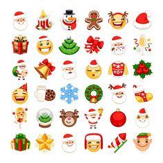 Weihnachts-emojis-set Premium Vektoren | Premium Vector #Freepik #vector #weihnachten #tannenbaum #baum #weihnachtsmann Christmas Emoticons, Christmas Clipart, Emoji Gratis, Masks Art, Merry Christmas And Happy New Year, Smileys, Create Yourself, Royalty Free Photos, Snowman