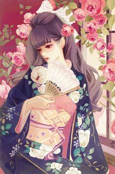 Matsuo Hiromi マツオヒロミ Warui mushi 悪い虫 (Bad insect) (coloured) - Japan - August 2017 Source Twitter @yayoi_yumeji Anime Kimono, Yukata, Pretty Art, Cute Art, Manga Art, Anime Art, Samurai, Beautiful Fantasy Art, Poses References