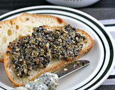 Olive Tapenade:  Green olives with pimentos, Black olives, Capers, Garlic, minced, Olive oil, Squeeze of lemon, Fresh basil.