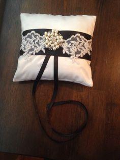 Ring bearer pillow black and white wedding